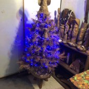 Coconut Fiber Christmas Tree - finished tree with angel and blue lights