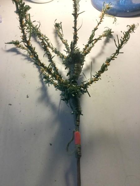 Coconut Fiber Christmas Tree - cut off faux greenery on tree branch