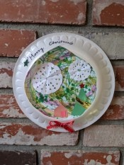 Paper Plate Framed Christmas Decoration - framed artwork hanging on fireplace