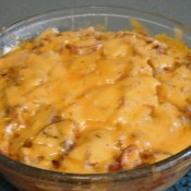 cooked Microwave Cheesy Potatoes with Onions