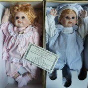 Value of Knightsbridge Heirloom Twin Dolls - girl and boy dolls in boxes