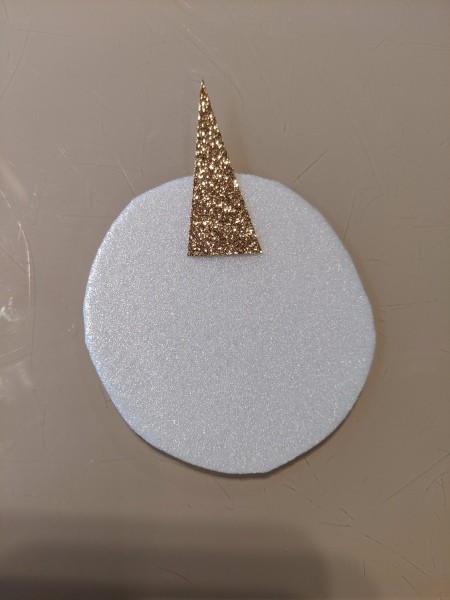 Rainbow Unicorn Ornament - circle cut from plate and the horn cut out but not attached