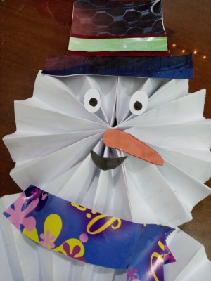 Wiggly Paper Snowman - cut and glue in place the nose, eyes, and mouth