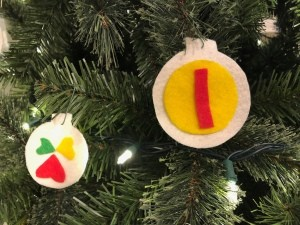 Personalized Felt Ornaments - large and small felt ornaments on the tree