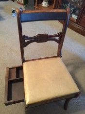 Value of Murphy Chair - armless chair with drawer open