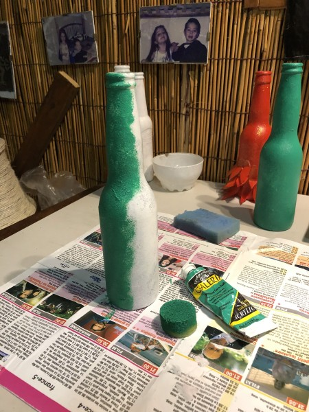Recycled Bottle Gold Leaf Candlestick Holders - painting a primed bottle green