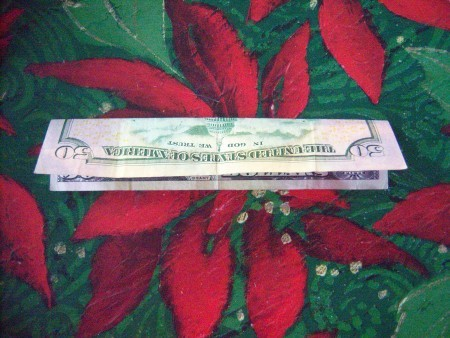 Cash Trees As Gifts - fold in half horizontally, top to bottom