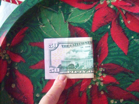 Cash Trees As Gifts - open and fold in half end to end