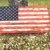 An American flag made of wood.