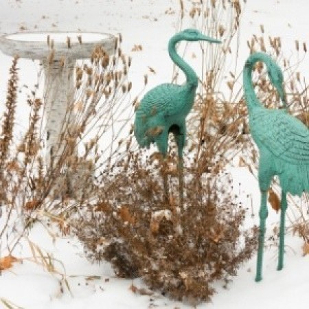 winter in the garden, snow, birdbath, and green finish storks