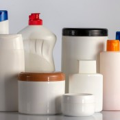 Assorted plastic cosmetic bottles.
