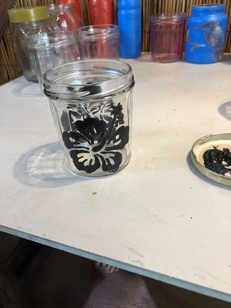 Christmas Silhouette Candle Holders - image painted on the outside of the jar