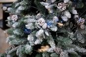 A Christmas tree with dim lights.
