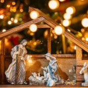 A nativity scene showing Mary, Joseph and Jesus in the manger.