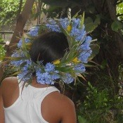 Christmas Flower Crown - young girl wearing the flower crown