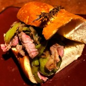 finished Caramelized Onion and Pepper Steak Sandwich