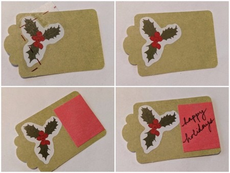 Wooden Ball Gift Tag Decoration Ornament - tag with holly sticker and a red message rectangle