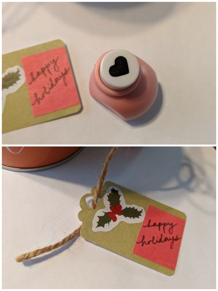 Wooden Ball Gift Tag Decoration Ornament - heart shaped hole punch and tag with hole punched