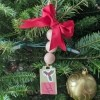 Wooden Ball Gift Tag Decoration Ornament - hanging on the tree