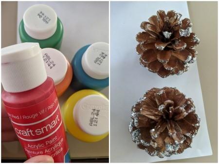 Rainbow Pinecone Ornaments - supplies