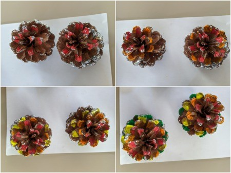 Rainbow Pinecone Ornaments - cones with glitter already applied