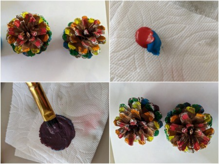 Rainbow Pinecone Ornaments - painting the cones