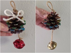 Rainbow Pinecone Ornaments - two versions of the ornament