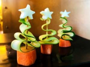 Veggie and Cheese Christmas Trees - three edible trees