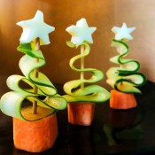Veggie and Cheese Christmas Trees - three edible trees