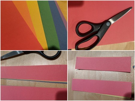 Rainbow Christmas Countdown - cut strips of construction paper and then cut in half