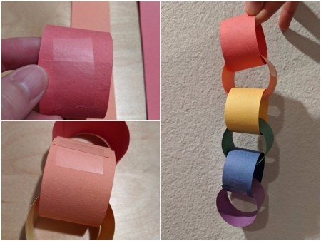 Rainbow Christmas Countdown - tape the strips in circles, making a chain