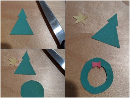 Rainbow Christmas Countdown - paper tree and wreath to decorate the chain
