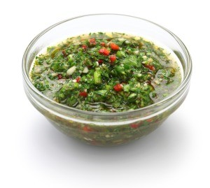 A bowl of chimichurri sauce
