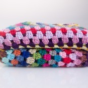 A colorful crocheted afghan.