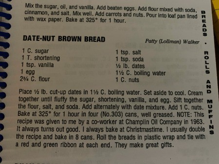 Baking Bread in a #303 Size Can - recipe book page for date nut bread