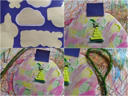 Paper Plate Ornament -cap added and pipe cleaner bent for a hanger