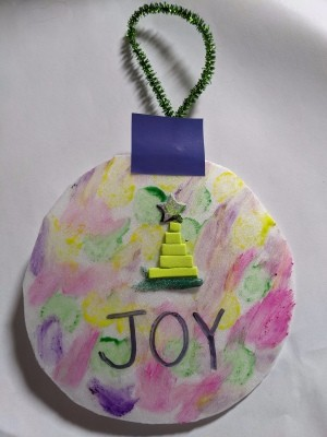 Paper Plate Ornament - ready to hang