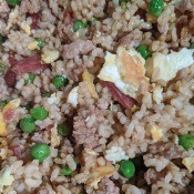 Fried Rice with meat, egg, & peas