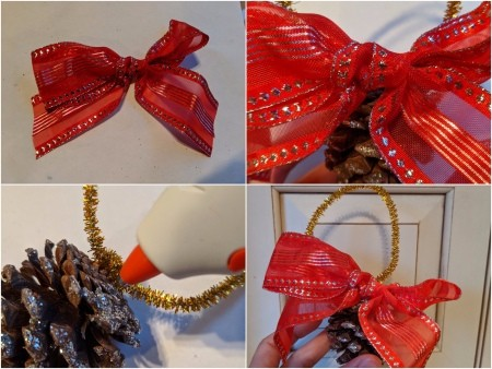 Oversized Bow Pinecone Ornament for Door - make a ribbon bow and glue in place