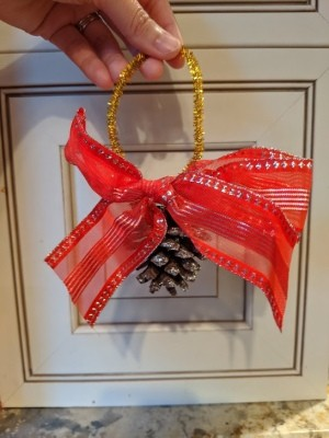 Oversized Bow Pinecone Ornament for Door - ready to hang on door knobs or anywhere