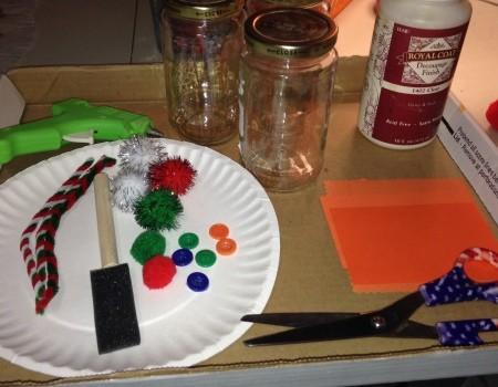 Pasta Jar Snowman Luminaries - supplies