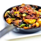 A pan of caramelized Brussels sprouts.