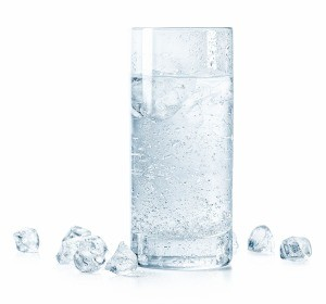 A glass of sparking water.