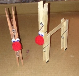 Clothespin Reindeer - color the bottom of the legs with a black marker to make hooves, add eyes and nose