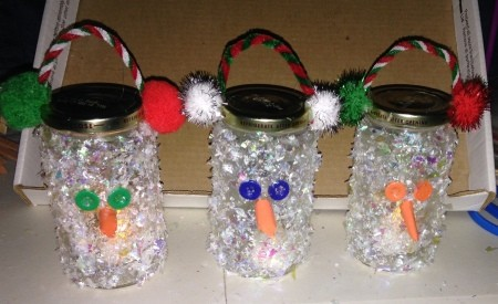 Pasta Jar Snowman Luminaries - three snowmen
