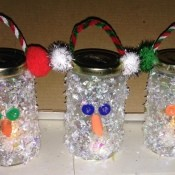 Pasta Jar Snowman Luminaries - three snowmen