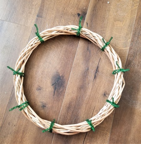 Mini Gift Wreath - chenille stems tied onto the wreath form