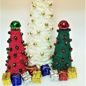 Crochet Chain Wrapped Foam Tree Trio - all three trees with mini packages