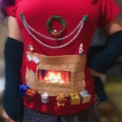 DIY Animated Christmas Hearth Shirt - final look at the shirt with fire crackling