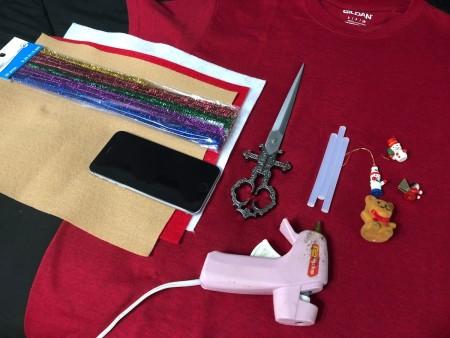 DIY Animated Christmas Hearth Shirt -supplies